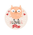 valentines day with cute cartoon owl vector image vector image