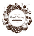 vintage template with traditional cherry cakes vector image vector image