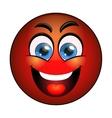 Smiling red emoticon vector image