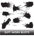 Set of black ink dotwork blots vector image