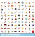 100 amusement icons set cartoon style vector image vector image
