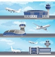 Airport building with control tower vector image vector image