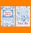 back to school sale sketch posters vector image vector image