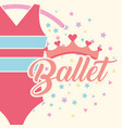 beautiful ballet clothes pink crown vector image vector image