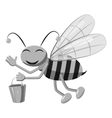 Bee with bucket honey icon gray monochrome style vector image