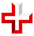 bright cross as healthcare first aid icon or logo vector image