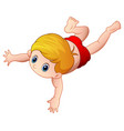 cartoon little boy swimming on a white background vector image