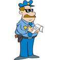 Cartoon policeman writing a ticket vector image