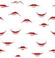 cartoon smile lips seamless pattern red female vector image vector image