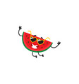 cartoon watermelon character in sunglasses vector image vector image