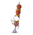 chef chicken shish with pepper tomato cartoon vector image