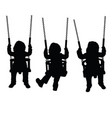 child silhouette sweet on swing set vector image vector image