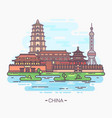 china monuments or landmarks buildings vector image vector image