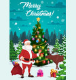 christmas tree with santa xmas gifts and reindeer vector image vector image