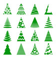 christmas trees icon set vector image