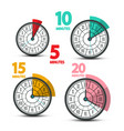clock faces icons with five ten fifteen and vector image vector image