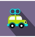 Clockwork toy car flat icon vector image
