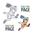 coloring page with woman tennis player cartoon vector image vector image