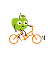 doing sport fruit - green fresh ripe apple riding vector image vector image