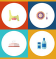 flat icon child set of toilet baby plate tissue vector image vector image