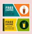 free coffee and drink coupon vector image vector image
