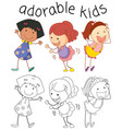 group of doodle adorable kids vector image vector image