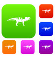 hadrosaurid dinosaur set color collection vector image vector image