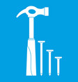 hammer and nails icon white vector image vector image