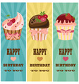 happy birthday card with cupcake vector image vector image