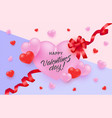 happy valentine day greeting banner with vector image vector image