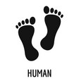 human step icon simple style vector image
