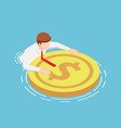 isometric businessmen are floating on water vector image vector image