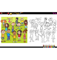 kid characters coloring book vector image vector image