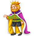 King wearing purple robe vector image vector image