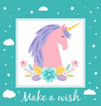 make a wish card template with cute unicorn vector image vector image