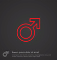 male symbol outline symbol red on dark background vector image
