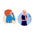 phone talking call mother women talking vector image