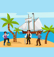 pirate captain woman and man carries rum character vector image vector image