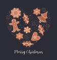 postcard with gingerbread cookies vector image