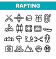 rafting trip sport linear icons set vector image
