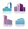 real estate construction company logo set vector image vector image