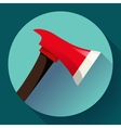Red fire ax icon flat style vector image vector image