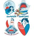 Retro Summer Surfing Icon Set vector image
