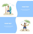 set concept summer banner people on beach flat vector image