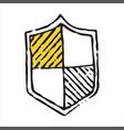 shield icon in doodle sketch lines vector image vector image