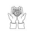 silhouette front view of hands holding in palms a vector image vector image