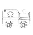 sketch draw ambulance car cartoon vector image vector image