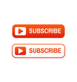 subscribe icons set video channel button red vector image
