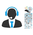 Support Manager Icon With 2017 Year Bonus vector image vector image