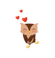 sweet little owlet in love cute bird cartoon vector image